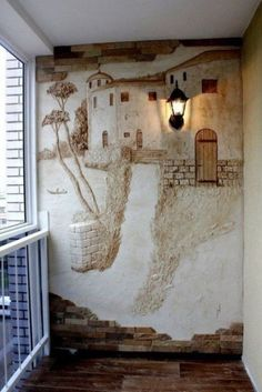 diy stenciling with spackle – did this in our home over an arch with a plastic ivy stencil, then added a wash a few shades darker in color than the wall color, absolutely gorgeous. Adding texture and interest right on the wall. Using the wall as the can