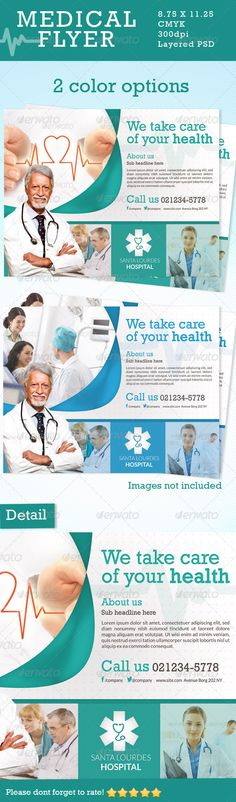 Medical Flyer in 2 Colors #GraphicRiver Medical Flyer This Flyer can be used in any Business like medicine,doctor,health,health care,dentist etc CMYK Color profile 11.25×8.75 including 0.25 bleed 300 DPI Easy to Edit Organized layers Ready to print Free Fonts 2 color schemes Font Used: Lato and Rockwell