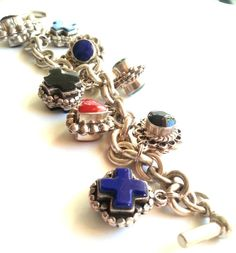 Vintage Mexican Mixed Gemstone Charm Sterling by GemsFitForAQueen, $135.00