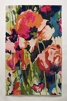 Anthropologie EU Painterly Poppies Hand-Tufted Rug