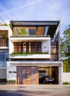 Mr.Hieu house Concept 3 on Behance 3 Storey House Design, Bungalow House Design, House Front Design, Small House Design, Best Modern House Design, Modern Villa Design, Minimalist House Design, Urban Design, Modern House Facades