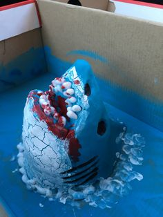 Great White Shark Project, made from intone foam cup, play dough, paint and q-tips for teeth