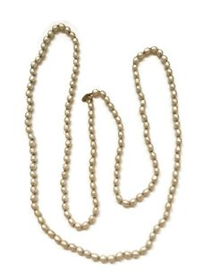 Vintage Miriam Haskell Long Rope Pearl Necklace