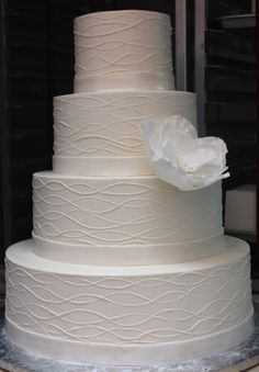 My Wedding Cake - Only with Grey ribbon and a yellow flower!