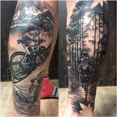 Triathlon Themed Tattoo in Black and Gray by Yarda - Triathlon Themed Tattoo in Black and Gray with a Swimmer, a Cyclist and a Runner.