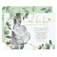 Shop Modern Greenery Elephant Green Gold Baby Shower Invitation created by BlueBunnyStudio. Personalize it with photos & text or purchase as is! Baby Shower Niño, Virtual Baby Shower, Gold Baby Showers, Gender Neutral Baby Shower, Baby Shower Green, Bridal Shower, Girl Shower, Peanut Baby Shower, Baby Shower Invitation Cards