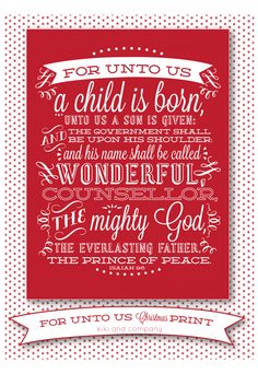 For Unto Us Christmas Print in Crimson now at Kiki and Company. Perfect for Holiday Decorating!