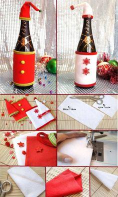 Viste tus botellas de Navidad La mesa está servida las velas encendidas y tu botellas de vino no pueden pasar inadvertidas para ello te traemos esta genial idea para vestirlas de acuerdo a la ocasi...