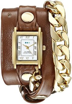 La Mer Collections Womens LMSCW4001 Malibu GoldTone Watch with WrapAround Leather Band -- Check this awesome product by going to the link at the image.Note:It is affiliate link to Amazon.