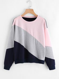 Shop Cut And Sew Color Block Sweatshirt online. SheIn offers Cut And Sew Color Block Sweatshirt & more to fit your fashionable needs. Teen Fashion Outfits, Hijab Fashion, Girl Fashion, Girl Outfits, Casual Outfits, Cute Sweatshirts, Cute Shirts, Jugend Mode Outfits, Kawaii Clothes