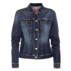 7 For All Mankind Classic Trucker Denim Jacket ($275) ❤ liked on Polyvore featuring women's fashion, outerwear, jackets, dark blue jacket, jean jacket, dark blue jean jacket, 7 for all mankind and denim jacket