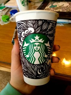 #whitecupcontest #starbucks Hot Coffee, Coffee Cups, White Cups, Coffee Company, Zentangles, Starbucks, Diys, Creative, Coffee Mugs