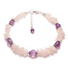 Rose Quartz Amethyst gemstone Sterling silver bracelet – pink gem stone chips, purple Amethyst wedding bridal Rose Quartz and Amethyst Beaded Jewelry, Jewelry Bracelets, Silver Jewelry, Handmade Jewelry, Couple Bracelets, Pearl Necklaces, Swarovski Jewelry, Jewellery, Ankle Bracelets