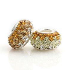Silver Diamond Yellow and White beads