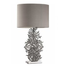 Heathfield & Co Atolli Table Lamp With Classic Mink Silk Shade and Prosecco PVC Inner