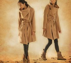 stylish wool coat for women  soft wool fabric, big hooded, flattering bottom. 3 way to wear this coat ! see our photos - casual look, elegant look