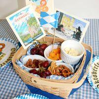 Oktoberfest Basket with snacks - peanuts, cheese, crackers, pretzels, etc.