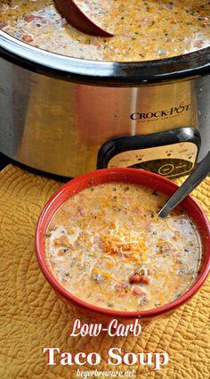 Crock Pot Low-Carb Taco Soup – Keto Taco Soup - Düşük karbonhidrat yemekleri - Las recetas más prácticas y fáciles Low Carb Tacos, Low Carb Taco Soup, Keto Taco, Low Carb Diet, Keto Soup, Healthy Taco Soup, Easy Taco Soup, Low Carb Chili, Low Carb Lunch