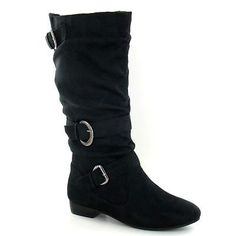 Womens Black Leather Look Low Heel Riding Biker Flat Ladies Mid Calf Boots Size