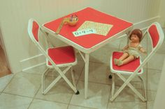 I have this table!  Mine's much more.. ahem.. rustic and the table red vinyl has been replaced.