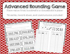 This is a fun activity for kids to do to get some practice with both rounding numbers, and decimal place value.   Instructions, 72 cards, and answer record sheet are included. Fifth Grade Math, Sixth Grade, Fourth Grade, Second Grade, Fun Math Activities, Math Games For Kids, Math Resources, Math Classroom, Kindergarten Math