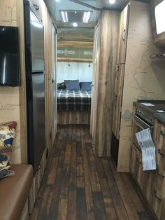 Beautiful wood floors and paneling highlight the upgraded interior finishes of the 2016 Airstream Pendleton Edition Vintage Campers, Vintage Camper Interior, Camper Interior Design, Interior Ideas, Vintage Airstream, Vintage Rv, Airstream Campers, Airstream Remodel, Airstream Renovation