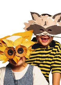 Running Wild Masks Go wild -- as a wise owl or rascally raccoon -- with these paper-plate masks that are a hoot to make.