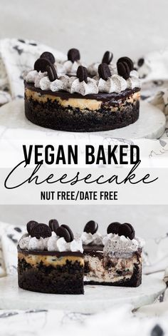 Ultimate Baked Vegan Cheesecake (Nut-Free) Incredible Baked Vegan Cheesecake - Nut Free, Date Free, Dairy Free and YUM.Incredible Baked Vegan Cheesecake - Nut Free, Date Free, Dairy Free and YUM. Bolo Vegan, Cake Vegan, Vegan Cupcakes, Desserts Végétaliens, Health Desserts, Plated Desserts, Dessert Sans Gluten, Vegan Dessert Recipes, Vegetarian Recipes