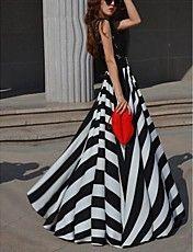 Donna rotonda Stripe Lace chiffon Swing Party Maxi Dress