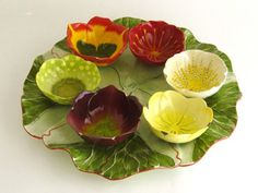 Seder Plate, hand painted leaf platter with six floral bowls, hand made Pottery Bowls, Ceramic Bowls, Ceramic Pottery, Ceramic Art, Painted Leaves, Hand Painted, Ceramic Flowers, Pottery Designs, Contemporary Ceramics