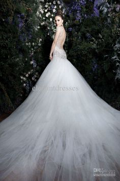 2013 Gorgeous crystal Hot Sexy Backless Elegent Mermaid wedding dresses White Ivory Summer Mermaid Dresses