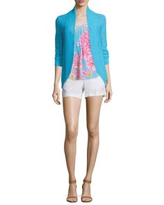 -6GN6 Lilly Pulitzer  Dahlia Sleeveless Pleated Floral-Print Top  Calla Linen Shorts