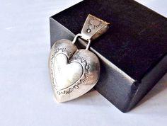 "Jane McRory Navajo Sterling Silver Native American 2"" Heart Slide Pendant #JaneMCrory #pendant #selfemployed #usa #fashionjewelry"