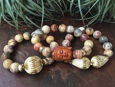 Ojime Buddha Green Opal Gemstone Triple by JewelrybyKellyWalker