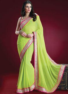 green-#georgette-#saree