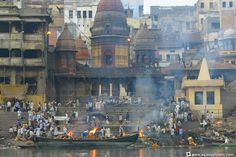 Manikarnika Ghat is where cremations are carried out in Varanasi. The fire has burned continuously for at least 3000 years.