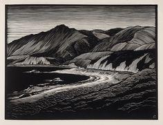 """Hills and The Sea"" - Paul Landacre - Wood Engraving - 1931 by Thomas Shahan 3, via Flickr"