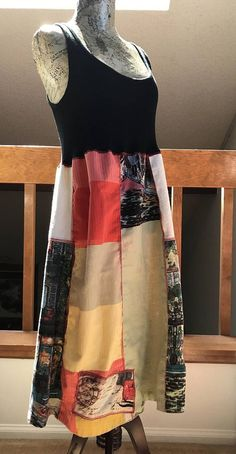 Size Medium patchwork dress. Comfortable upcycled rustic one, very flattering and easy to wear