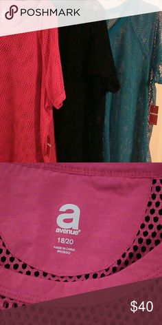 3 Net shirts These shirts are great for the summer with a tank under it. The Hot Pink and Turquoise are new with the tags and the black has been worn once. 18W/20W these shirts are 30 inches long from shoulder to hem. Avenue Tops Tunics