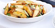 Roast potato salad makes a crispy and lighter change from the traditional creamy versions.