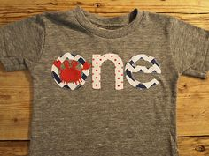 Crab shirt crab party Shirt Nautical Theme Birthday Shirt chevron Tee on Organic blend birthday shirt customize first birthday etc on Etsy, $34.00