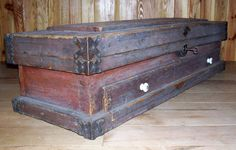 Reserved Antique Wooden Tool Chest / 1880s Handmade Wooden Trunk With Drawers…