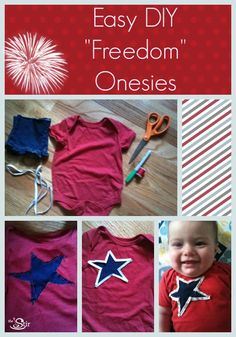 Need a onesie for a 4th of July? Make a festive outfit for baby with this easy tutorial: http://thestir.cafemom.com/baby/105890/4th_of_july_baby_onesie?