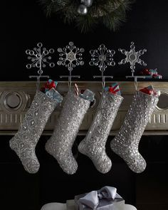 Silver Bead Christmas Stockings by Kim Seybert at Horchow. Description from pinterest.com. I searched for this on bing.com/images
