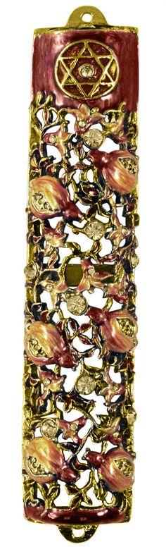 Mezuzah Case Jeweled Enamel Royal Red Shin Design Fits a 7cm Scroll Jewish Educational Toys