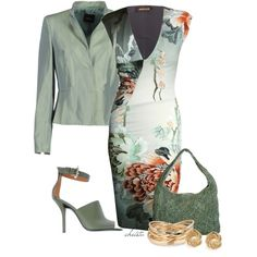 A fashion look from March 2013 featuring green dress, blazer jacket and high heel sandals. Browse and shop related looks.