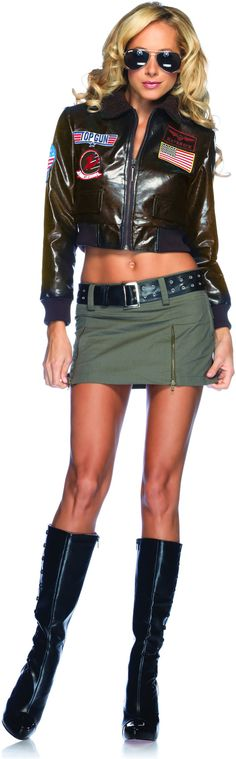 "Top Gun Bomber Jacket Adult Costume (Female) ""I feel the need."" You'll surely be top of the class in this sexy Maverick Top Gun Bomber Jacket Adult Costum Top Gun Halloween Costume, Top Gun Costume, Costume Shop, Halloween Ideas, Women Halloween, Halloween Stuff, Halloween Outfits, Halloween Makeup, Happy Halloween"
