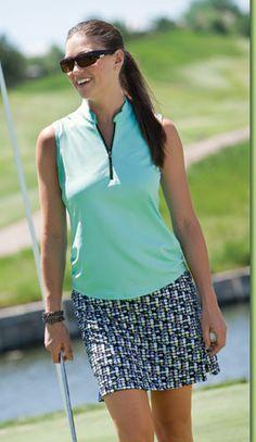 Bette & Court/Swing Ladies Golf Outfits (Shirt & Skort) - Soiree (Glacier & Black)  cool summer colors