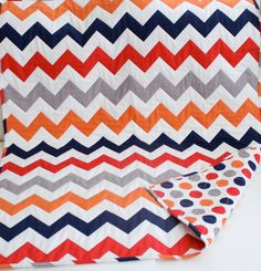 Quilt Inspiration...Chic Chevron Baby Toddler Quilt in Gray, Navy, Red, Orange Chevron and Dots