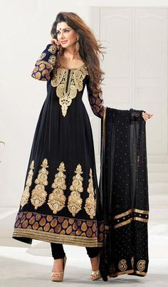 $87.27 Black Embroidered Georgette Designer Anarkali Salwar Kameez 25347